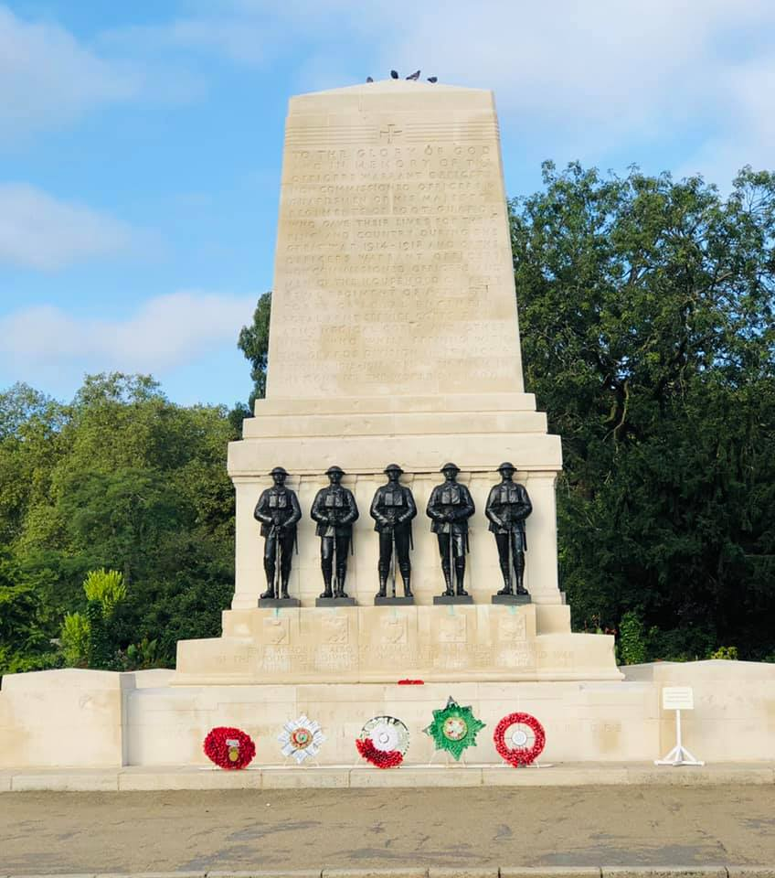 The Guards memorial on the edge of St James' Park opposite Horse Guards
